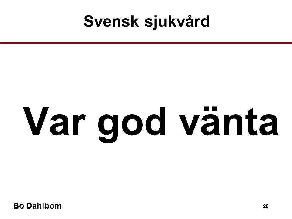 Svensk sjukvård Var god vänta