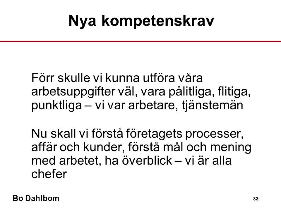 Nya kompetenskrav Förr skulle vi kunna utföra våra arbetsuppgifter väl, vara pålitliga, flitiga, punktliga – vi var arbetare, tjänstemän.