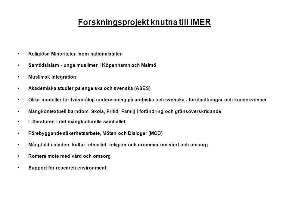 Forskningsprojekt knutna till IMER