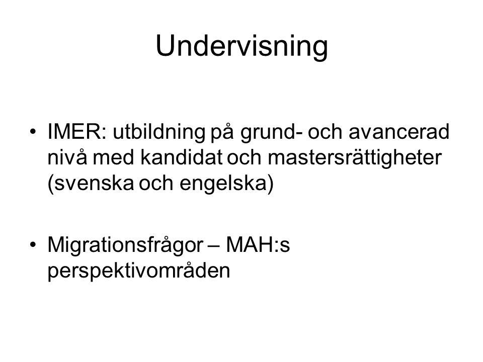 Undervisning IMER: utbildning på grund- och avancerad nivå med kandidat och mastersrättigheter (svenska och engelska)
