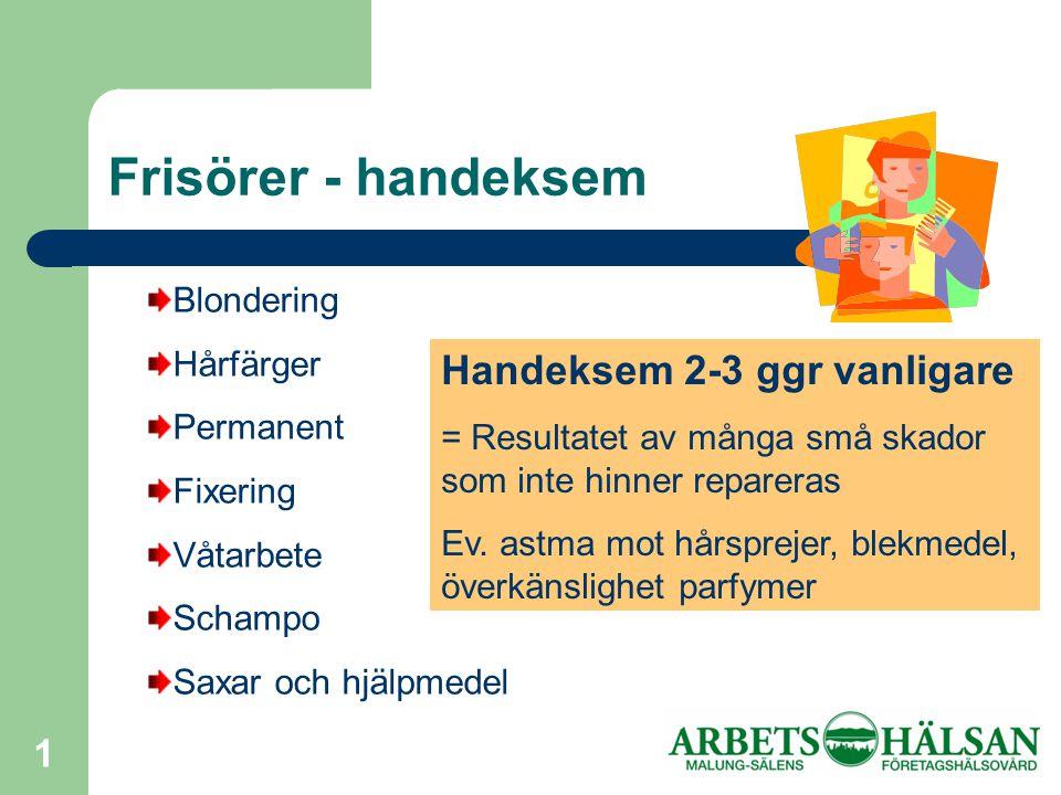 Frisörer - handeksem Handeksem 2-3 ggr vanligare Blondering Hårfärger