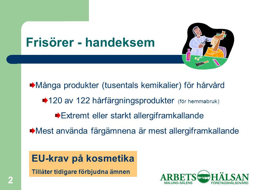 Frisörer - handeksem EU-krav på kosmetika