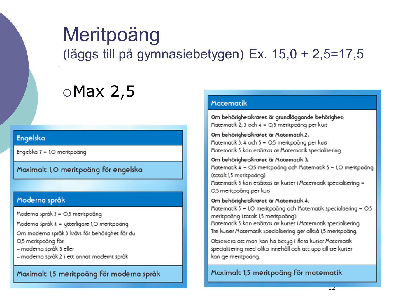 Meritpoäng (läggs till på gymnasiebetygen) Ex. 15,0 + 2,5=17,5