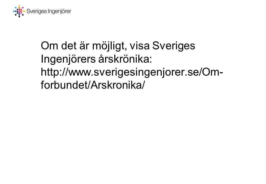 Om det är möjligt, visa Sveriges Ingenjörers årskrönika: http://www