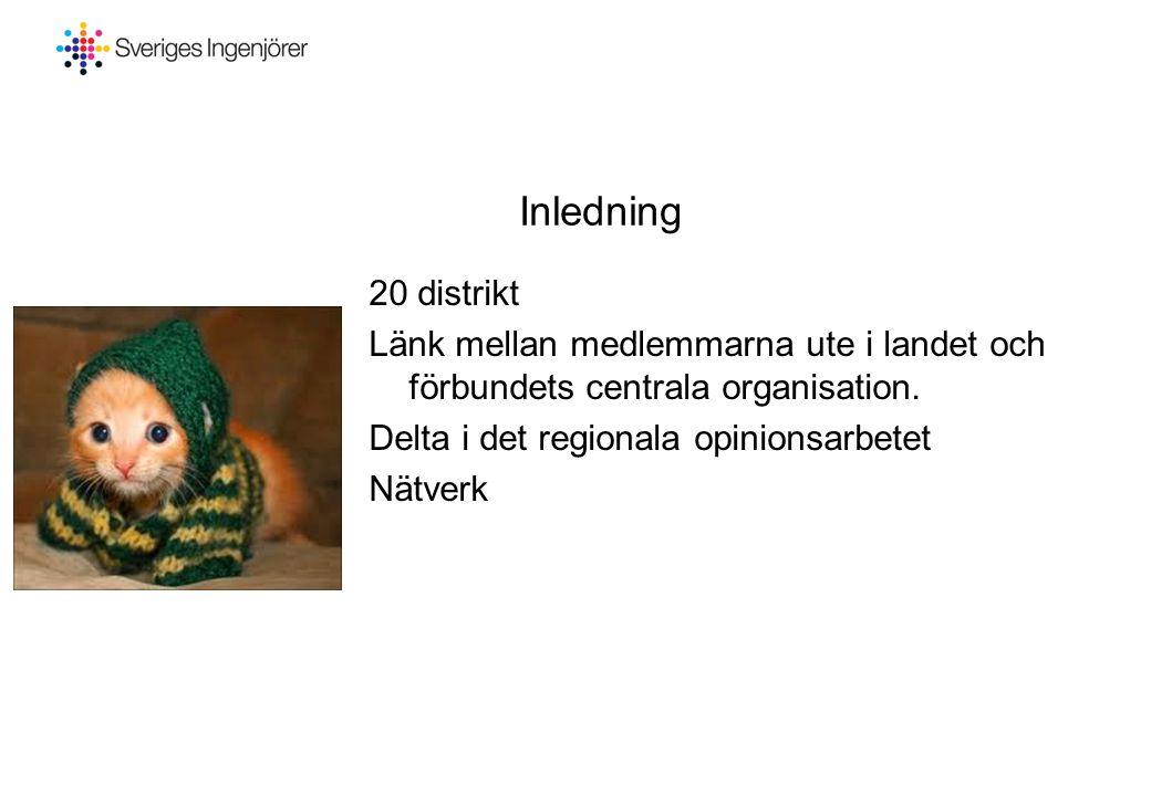 2017-04-03 Inledning. 20 distrikt. Länk mellan medlemmarna ute i landet och förbundets centrala organisation.