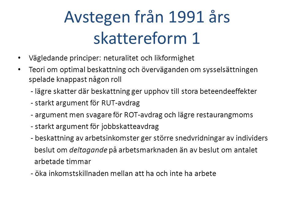 Avstegen från 1991 års skattereform 1