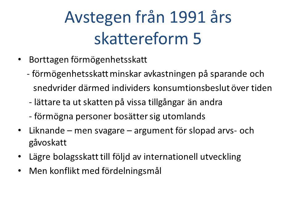 Avstegen från 1991 års skattereform 5