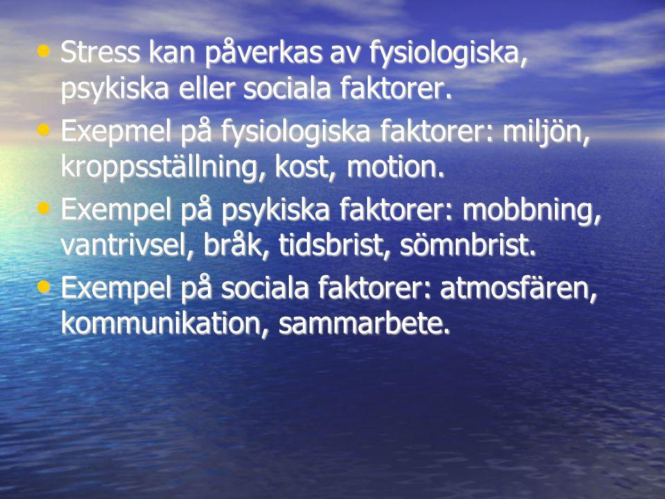 Stress kan påverkas av fysiologiska, psykiska eller sociala faktorer.