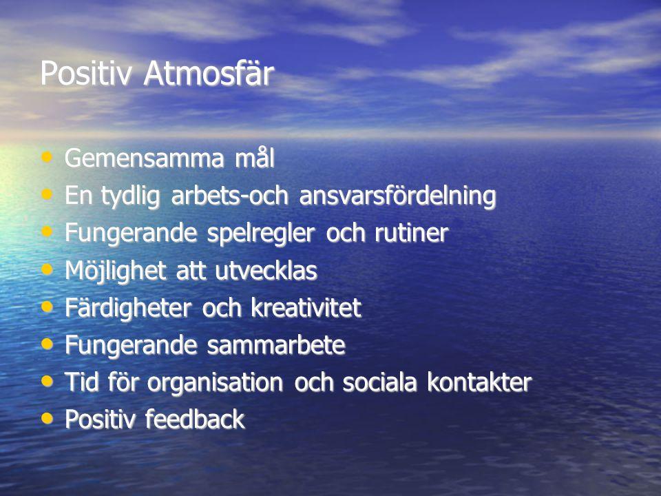 Positiv Atmosfär Gemensamma mål En tydlig arbets-och ansvarsfördelning