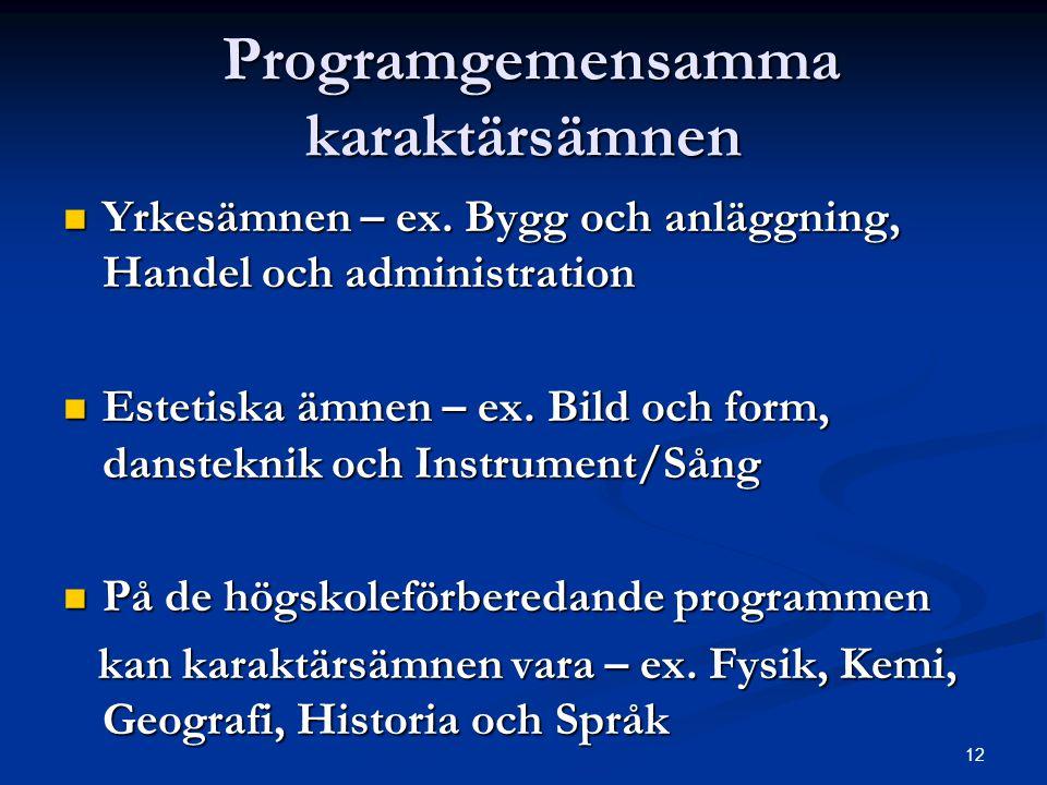 Programgemensamma karaktärsämnen