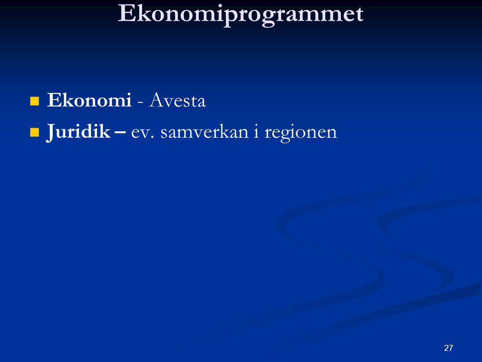 Ekonomiprogrammet Ekonomi - Avesta Juridik – ev. samverkan i regionen
