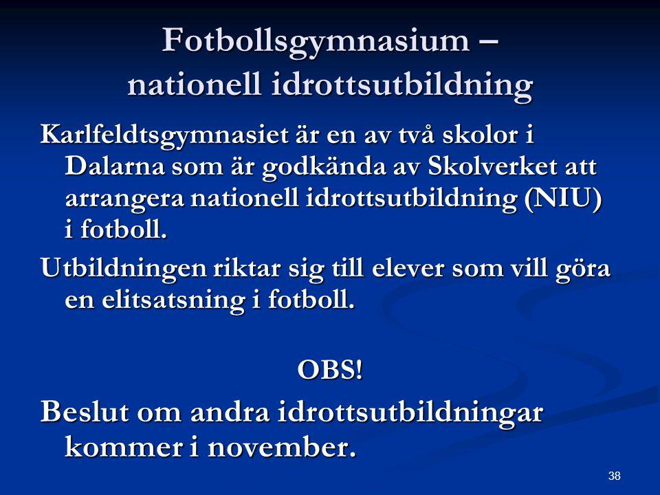 Fotbollsgymnasium – nationell idrottsutbildning