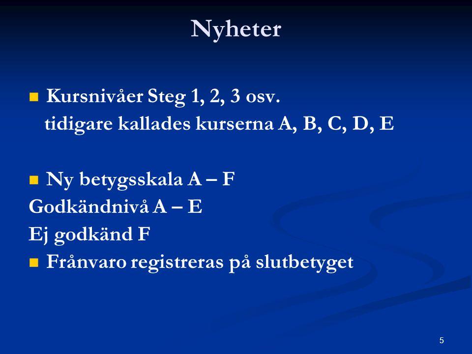Nyheter Kursnivåer Steg 1, 2, 3 osv.