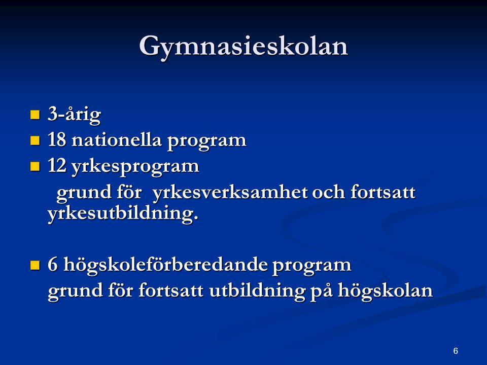 Gymnasieskolan 3-årig 18 nationella program 12 yrkesprogram