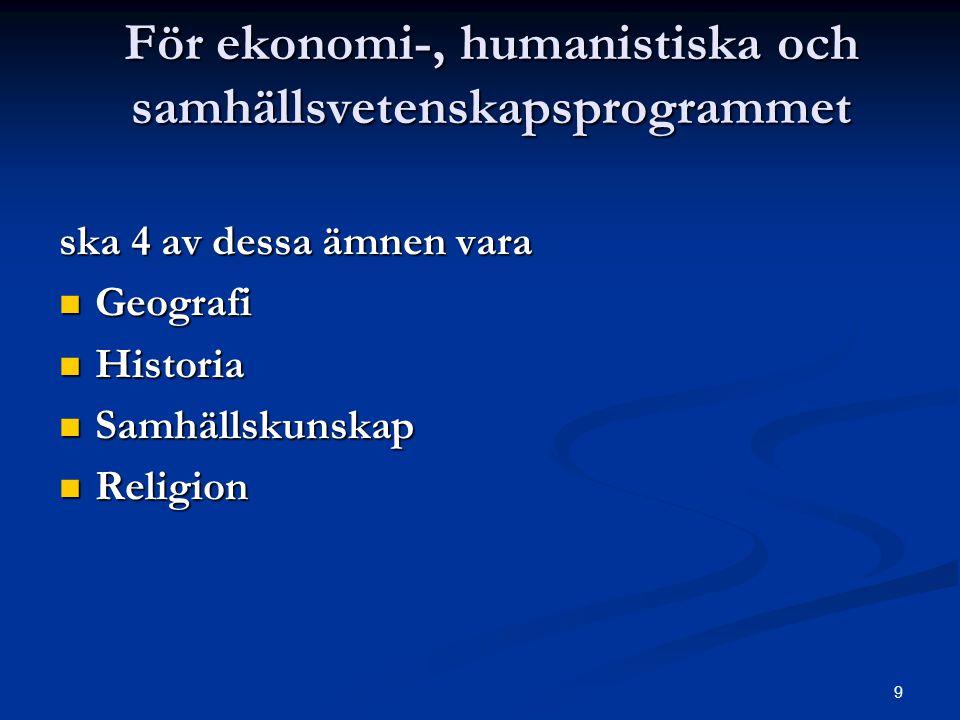 För ekonomi-, humanistiska och samhällsvetenskapsprogrammet