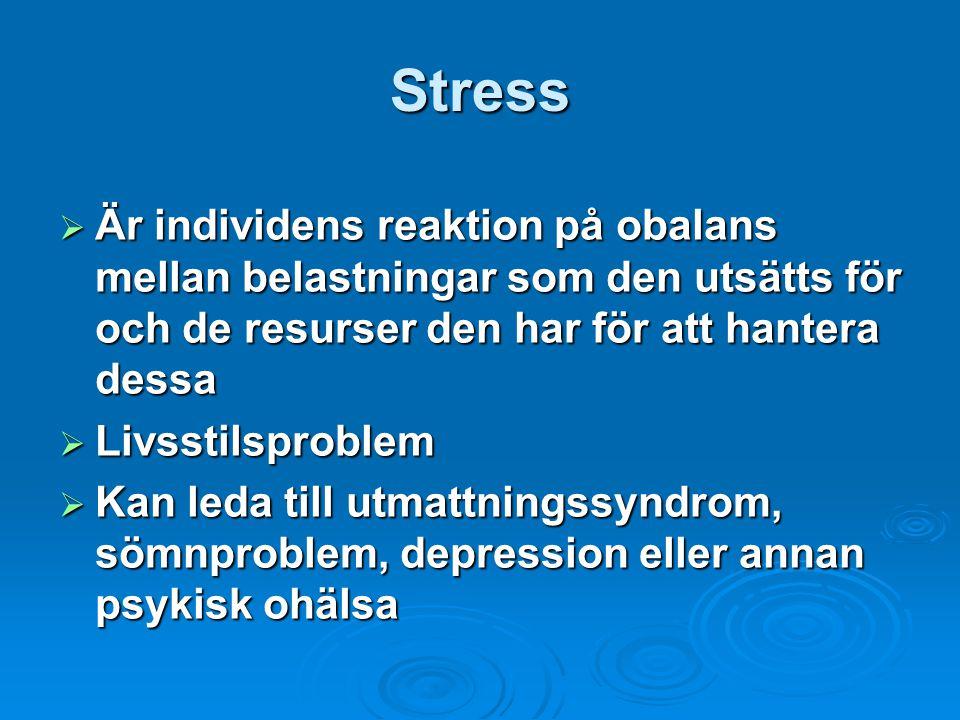 Stress Är individens reaktion på obalans mellan belastningar som den utsätts för och de resurser den har för att hantera dessa.