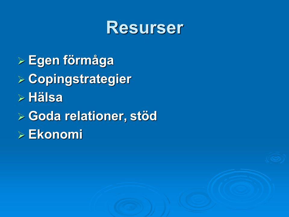 Resurser Egen förmåga Copingstrategier Hälsa Goda relationer, stöd