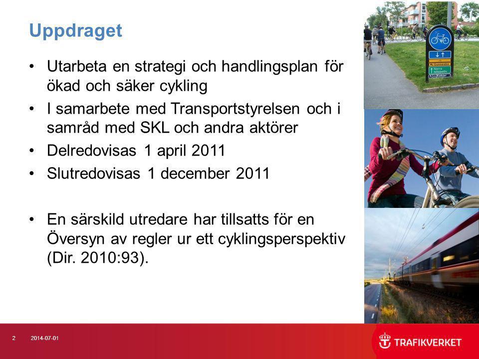Uppdraget Utarbeta en strategi och handlingsplan för ökad och säker cykling.