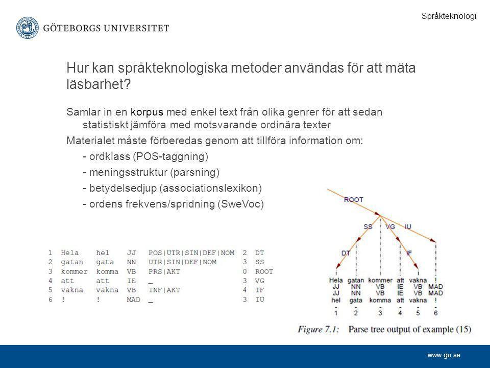 Hur kan språkteknologiska metoder användas för att mäta läsbarhet