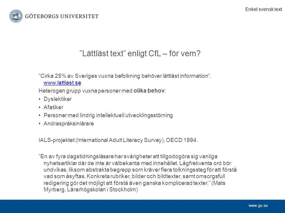 Lättläst text enligt CfL – för vem