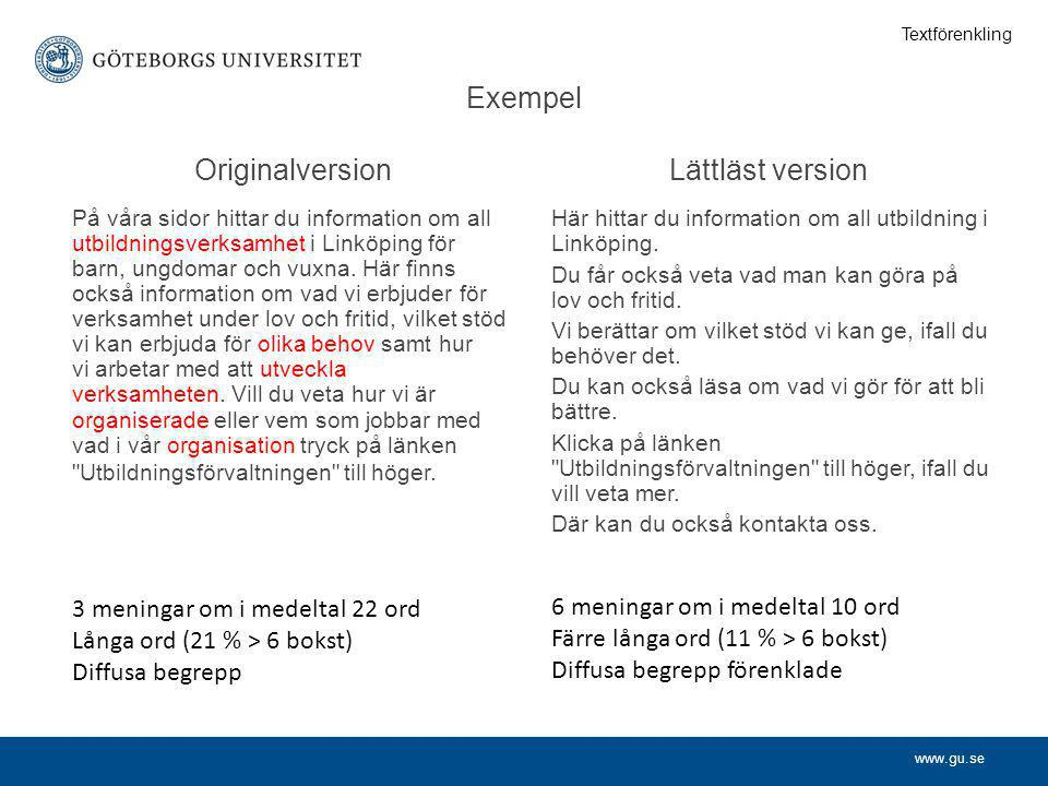 Exempel Originalversion Lättläst version