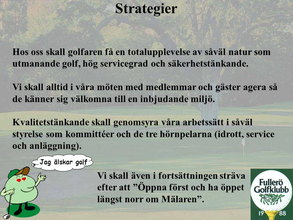 Strategier Hos oss skall golfaren få en totalupplevelse av såväl natur som. utmanande golf, hög servicegrad och säkerhetstänkande.