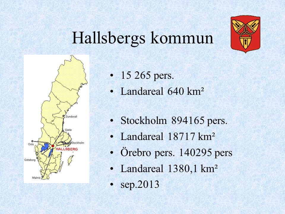 Hallsbergs kommun 15 265 pers. Landareal 640 km²