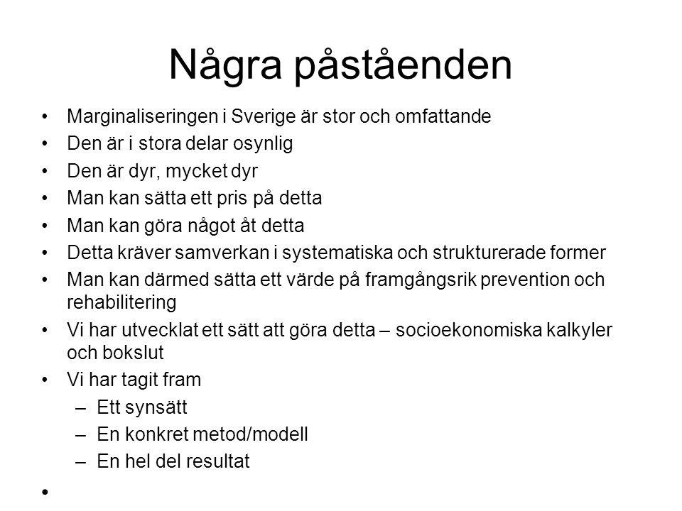 Några påståenden Marginaliseringen i Sverige är stor och omfattande