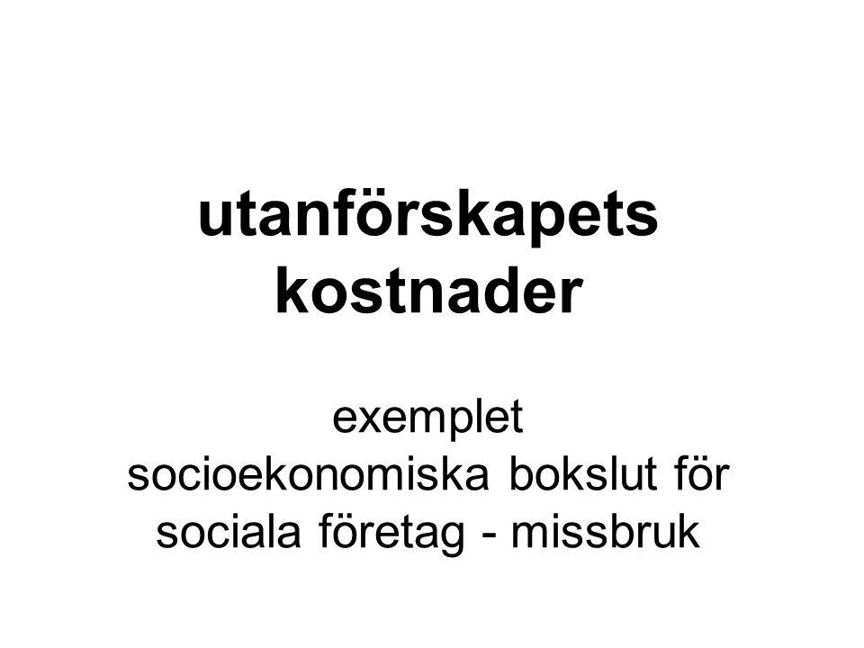 utanförskapets kostnader exemplet socioekonomiska bokslut för sociala företag - missbruk