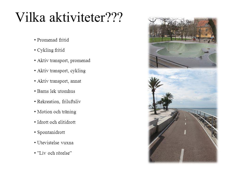 Vilka aktiviteter Promenad fritid Cykling fritid