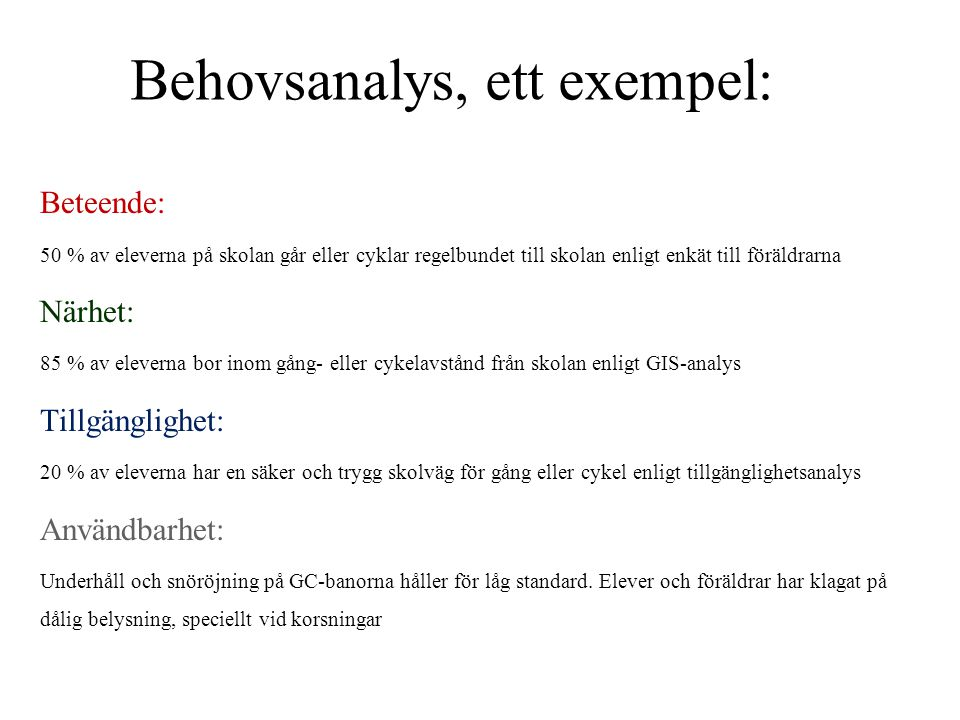 Behovsanalys, ett exempel: