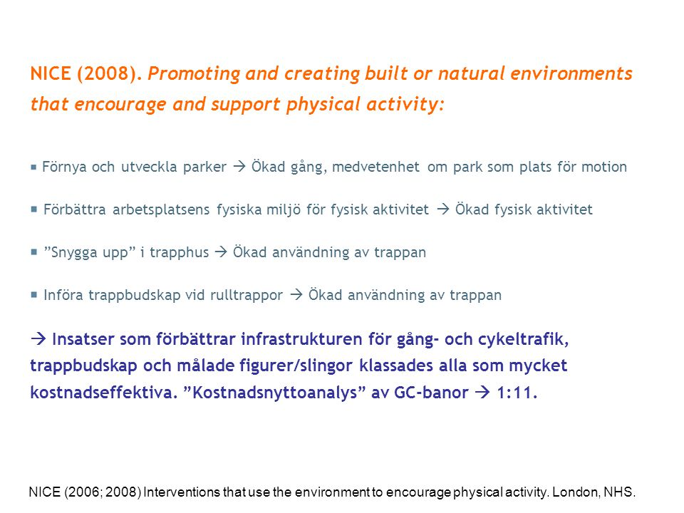 NICE (2008). Promoting and creating built or natural environments that encourage and support physical activity: