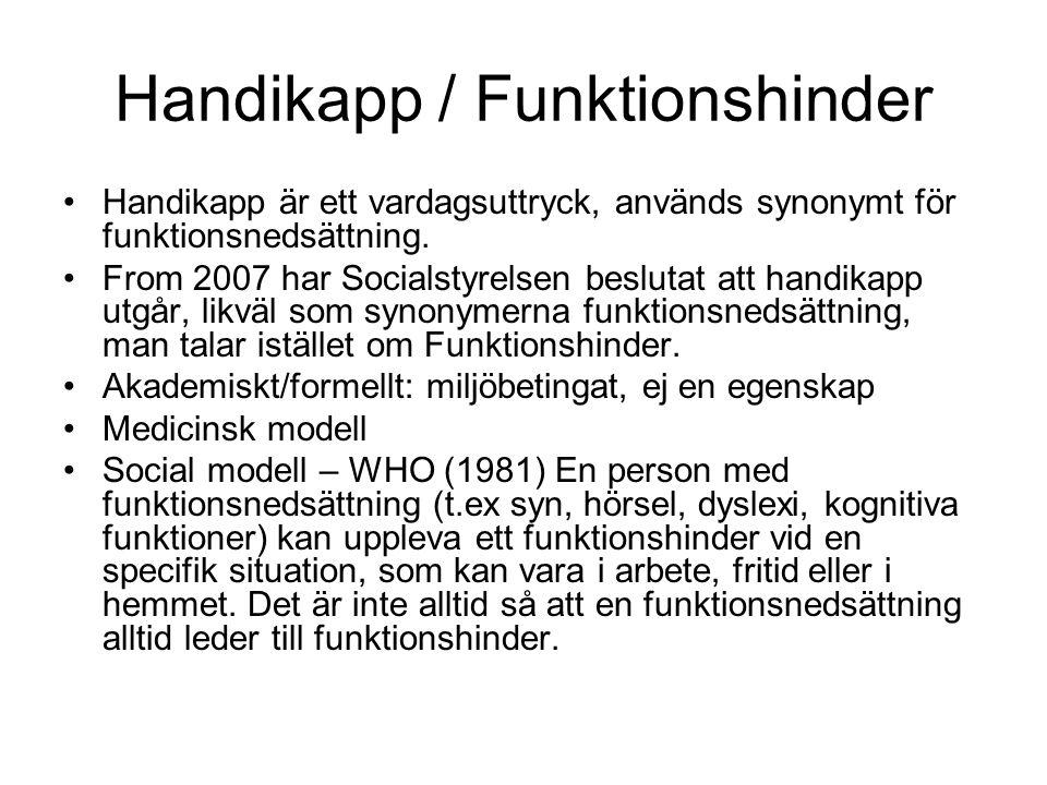 Handikapp / Funktionshinder