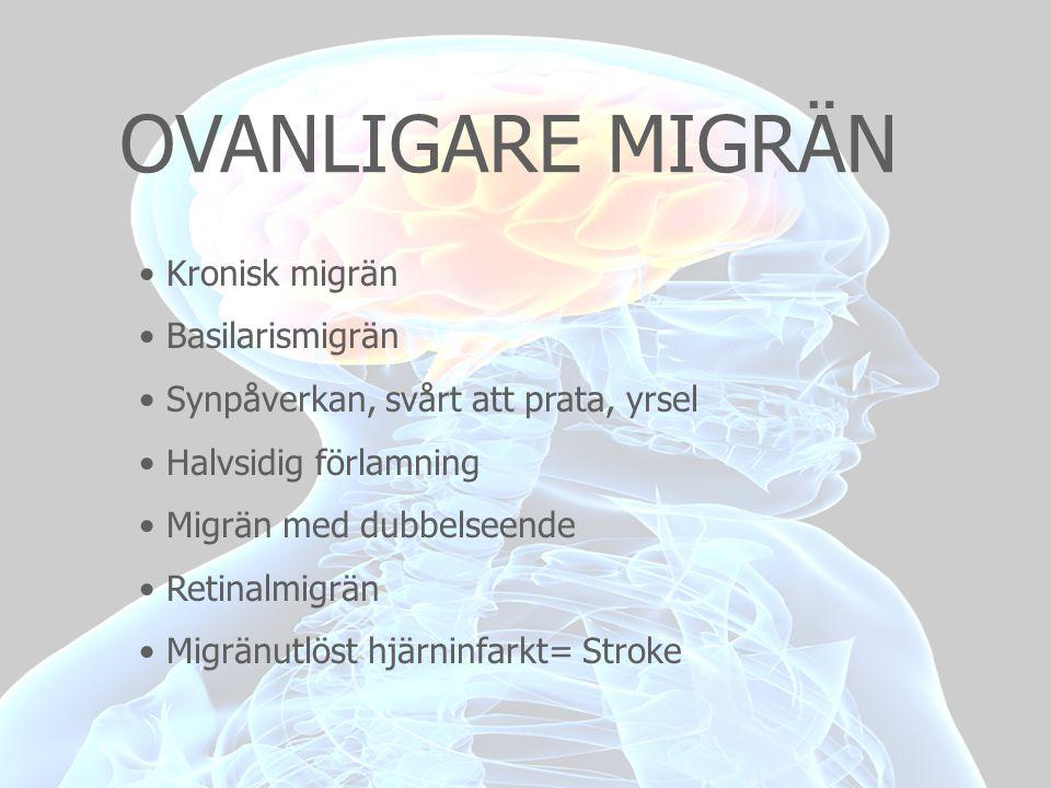OVANLIGARE MIGRÄN Kronisk migrän Basilarismigrän