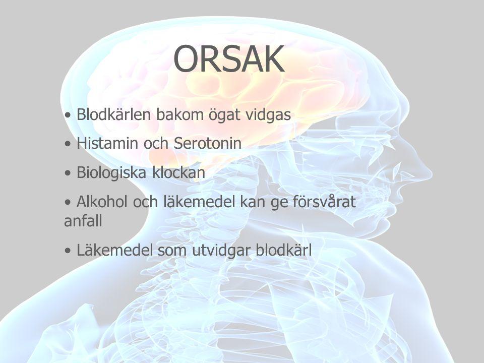 ORSAK Blodkärlen bakom ögat vidgas Histamin och Serotonin