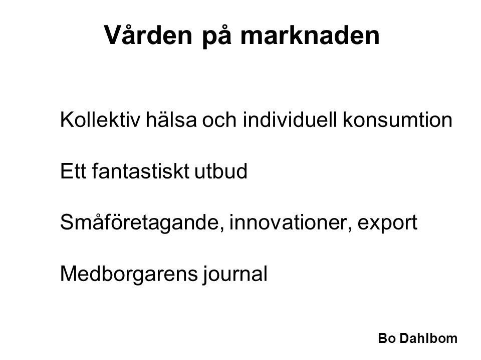 Vården på marknaden Kollektiv hälsa och individuell konsumtion Ett fantastiskt utbud Småföretagande, innovationer, export Medborgarens journal