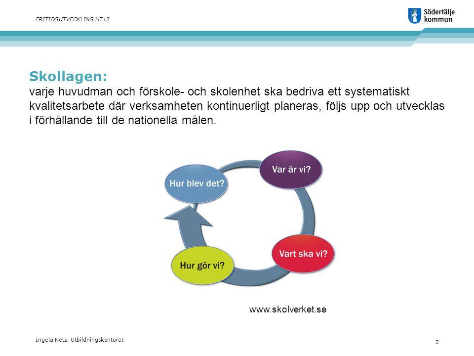 Skollagen: varje huvudman och förskole- och skolenhet ska bedriva ett systematiskt kvalitetsarbete där verksamheten kontinuerligt planeras, följs upp och utvecklas i förhållande till de nationella målen.