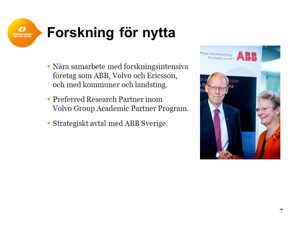 Forskning för nytta Nära samarbete med forskningsintensiva företag som ABB, Volvo och Ericsson, och med kommuner och landsting.