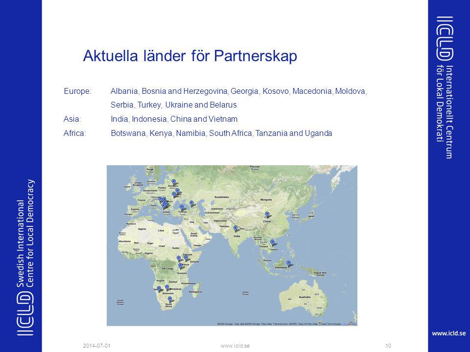 Aktuella länder för Partnerskap