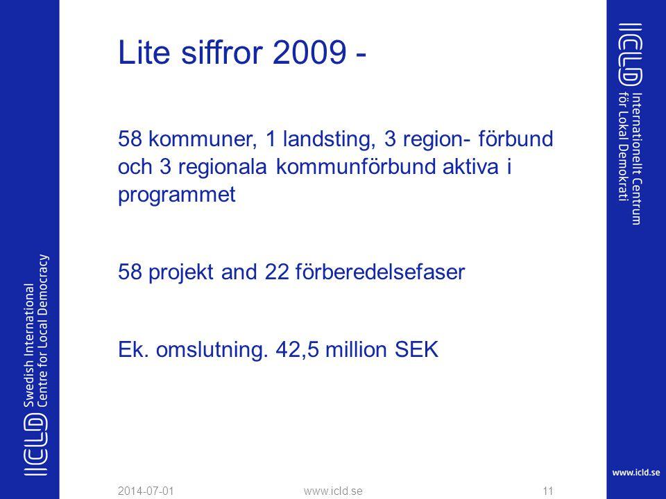 Lite siffror 2009 - 58 kommuner, 1 landsting, 3 region- förbund och 3 regionala kommunförbund aktiva i programmet.