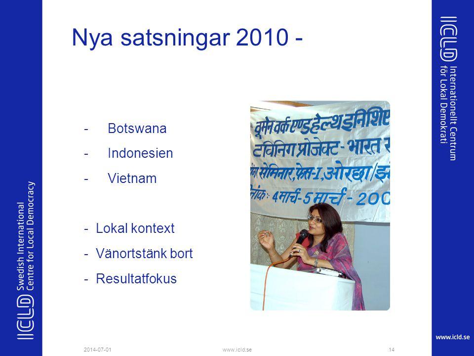 Nya satsningar 2010 - Botswana Indonesien Vietnam - Lokal kontext