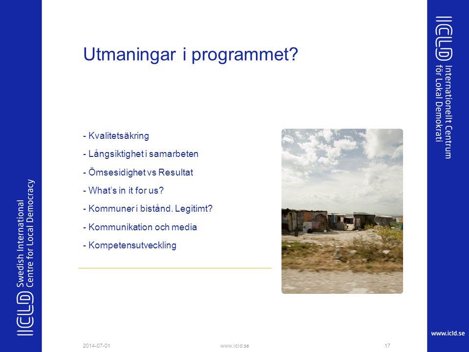 Utmaningar i programmet