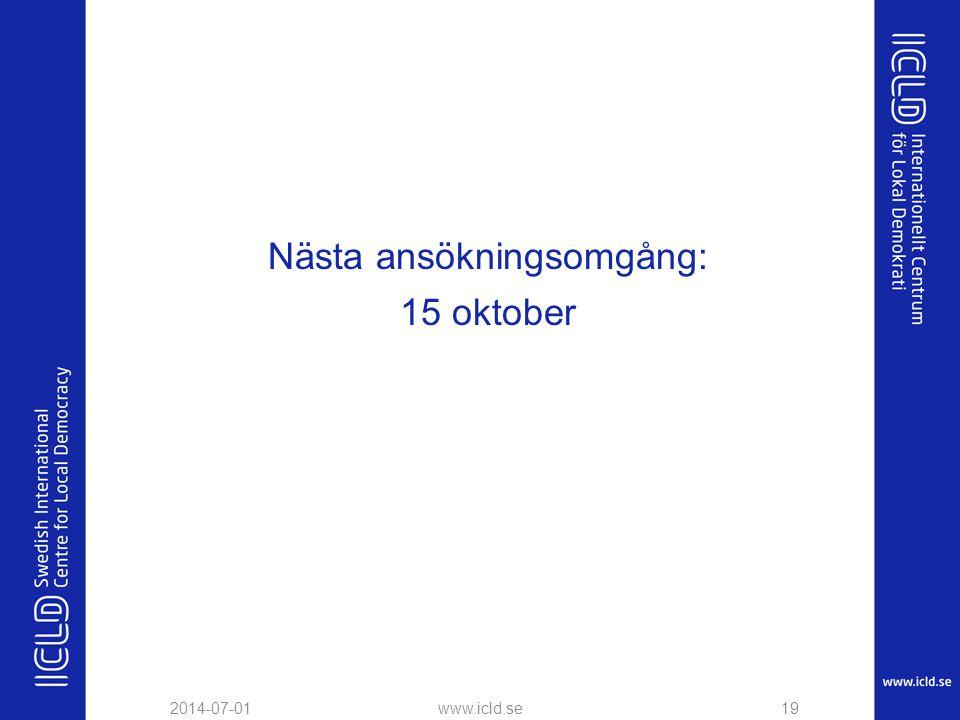 Nästa ansökningsomgång: 15 oktober