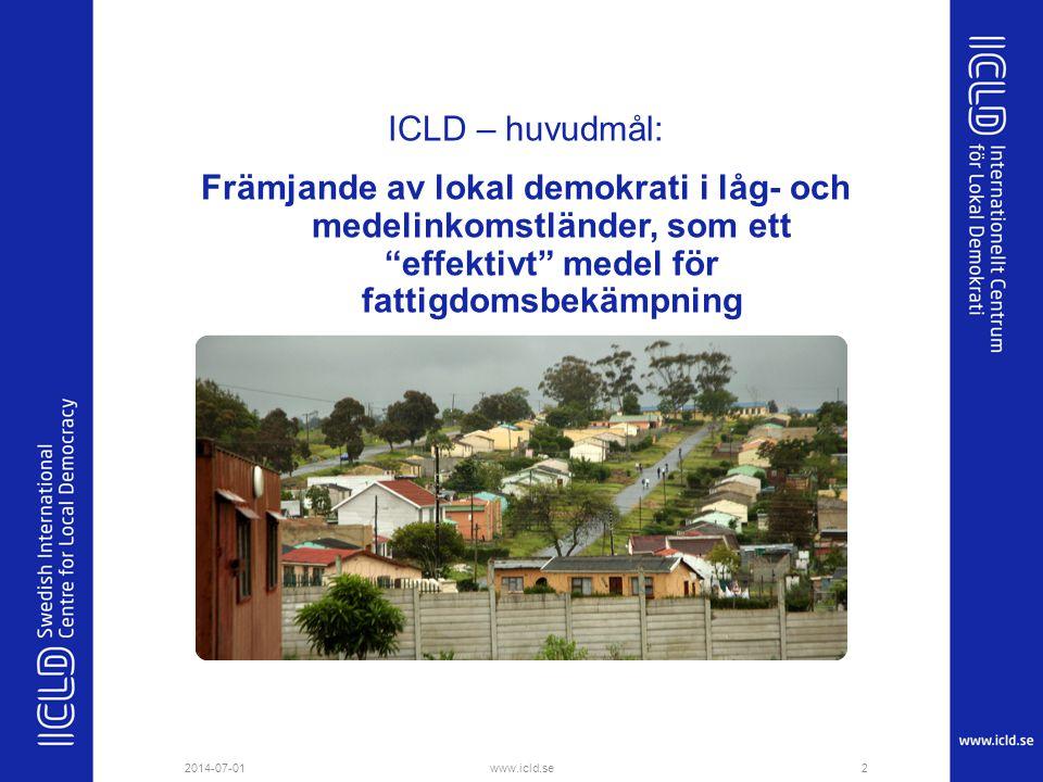 ICLD – huvudmål: Främjande av lokal demokrati i låg- och medelinkomstländer, som ett effektivt medel för fattigdomsbekämpning
