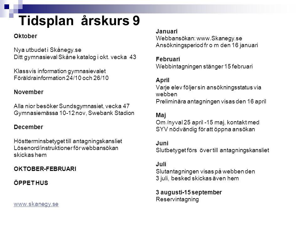 Tidsplan årskurs 9