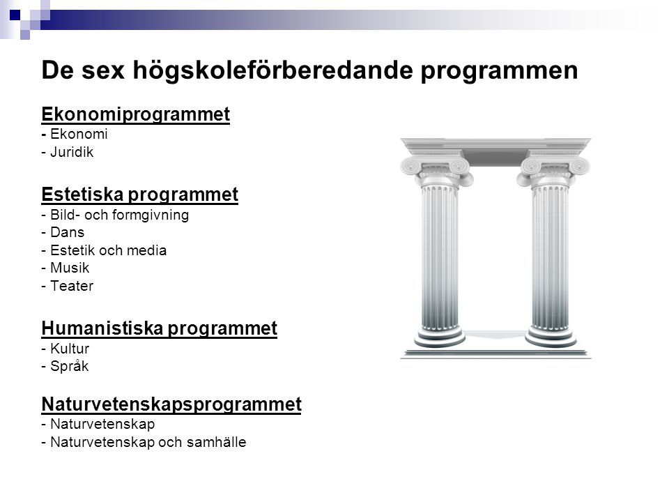De sex högskoleförberedande programmen