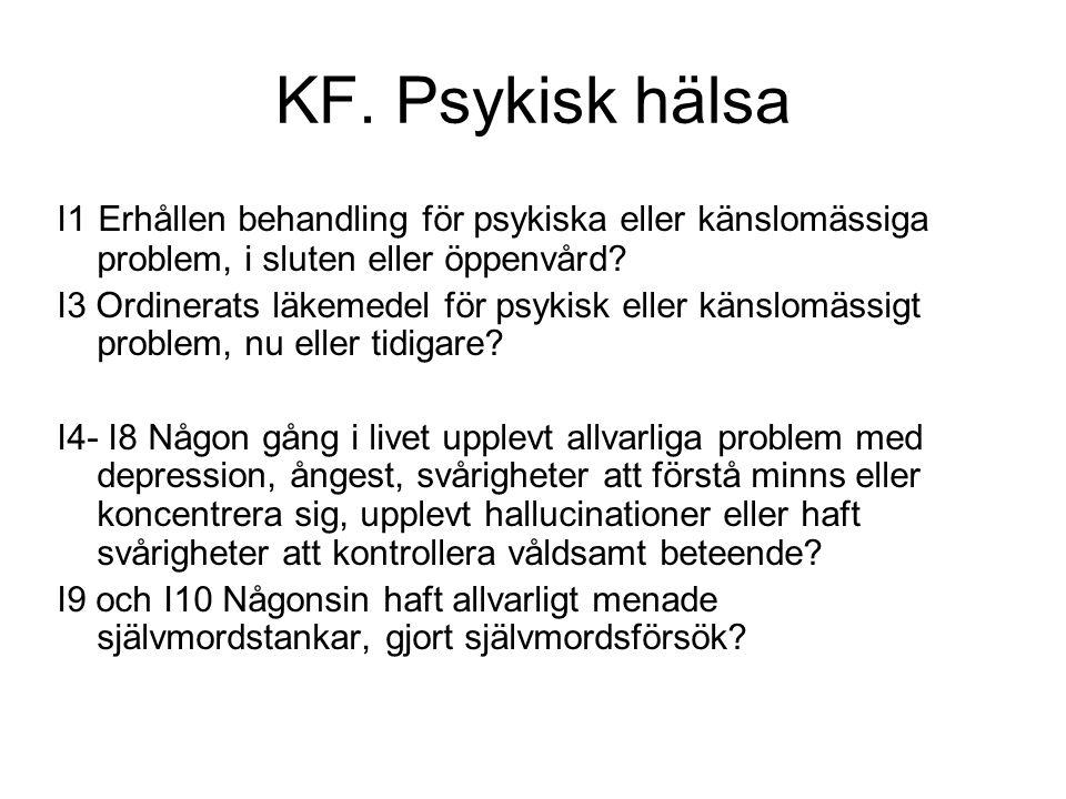 KF. Psykisk hälsa I1 Erhållen behandling för psykiska eller känslomässiga problem, i sluten eller öppenvård