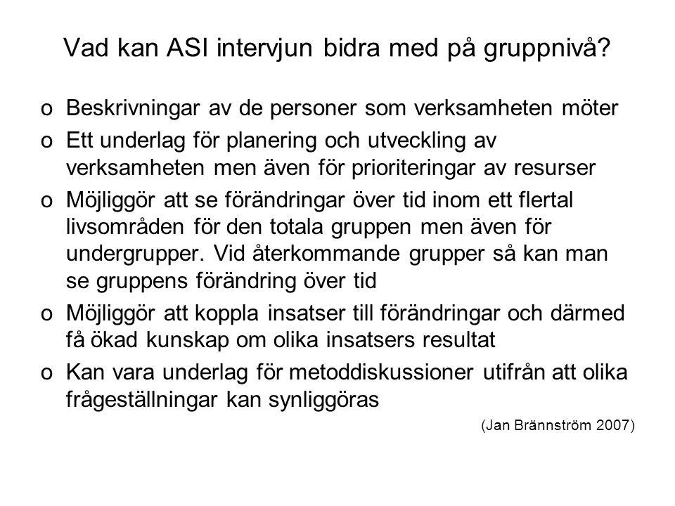 Vad kan ASI intervjun bidra med på gruppnivå