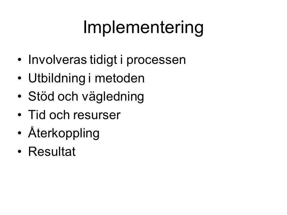 Implementering Involveras tidigt i processen Utbildning i metoden