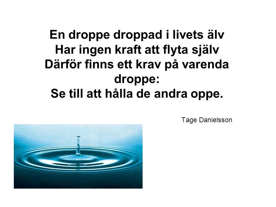En droppe droppad i livets älv Har ingen kraft att flyta själv Därför finns ett krav på varenda droppe: Se till att hålla de andra oppe.